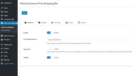 WooCommerce Free Shipping Bar Extension