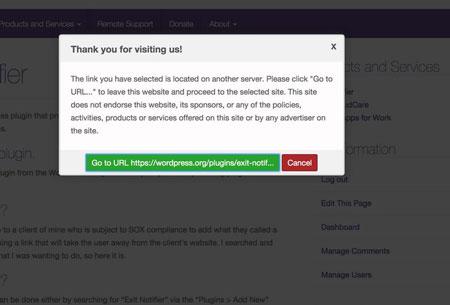 Exit Notifier for WordPress