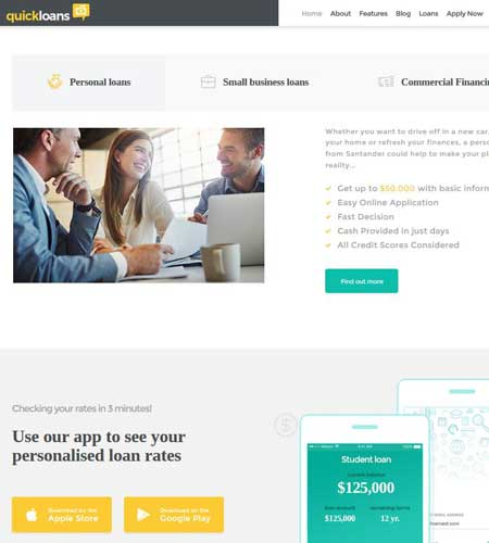 QuickLoans: WordPress Theme for Loan Companies