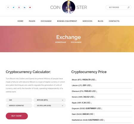 Coinster Cryptocurrency Exchange WP Theme