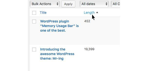 Display Content Length: Sort WP Posts by Length