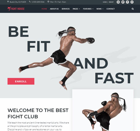 Fight House Theme for Martial Arts Clubs