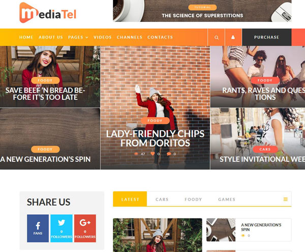 MediaTel: WordPress Theme for YouTube/Vimeo Magazines