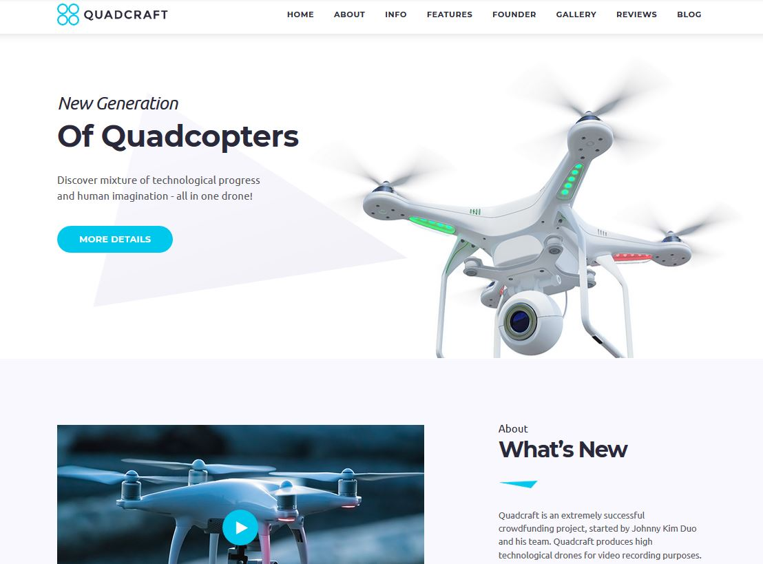 Quadcraft: WordPress Theme for Drone Startups