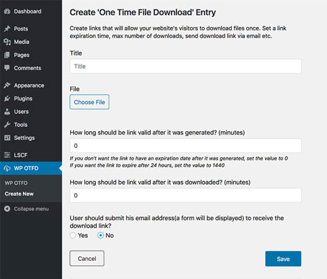 WP One Time File Download: This Plugin Creates Unique Download Links
