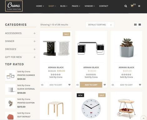 Crona Minimalist Furniture Theme for WooCommerce