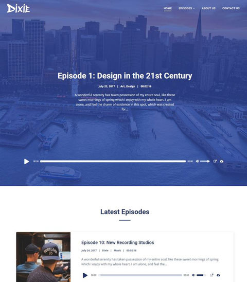 Dixie: WordPress Theme for Podcasts with Elementor