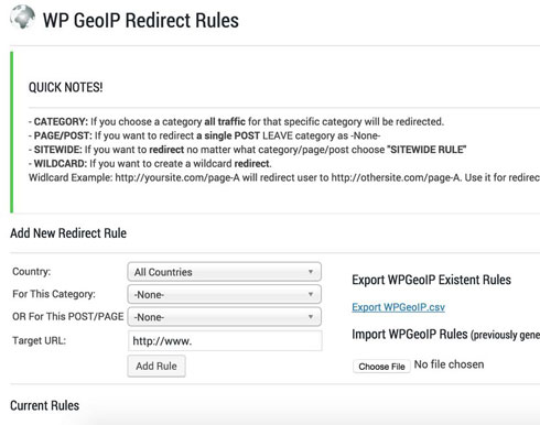 WP GeoIP Country Redirect Plugin