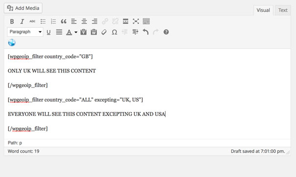 WP Country Specific Content Plugin