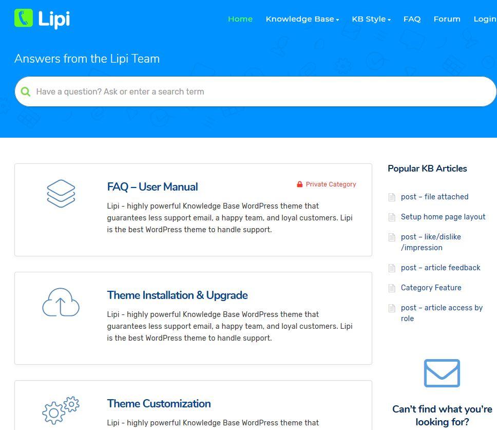 Lipi Knowledge Base WordPress Theme